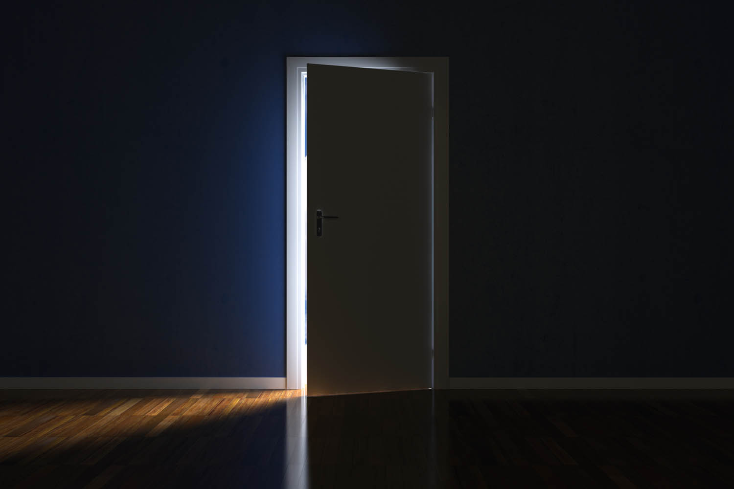 image of a slightly open door with light creeping into home