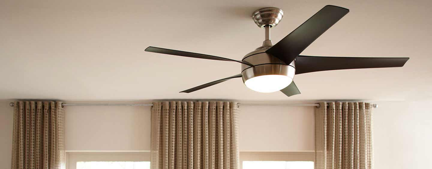 ceiling fan on a roof in a home