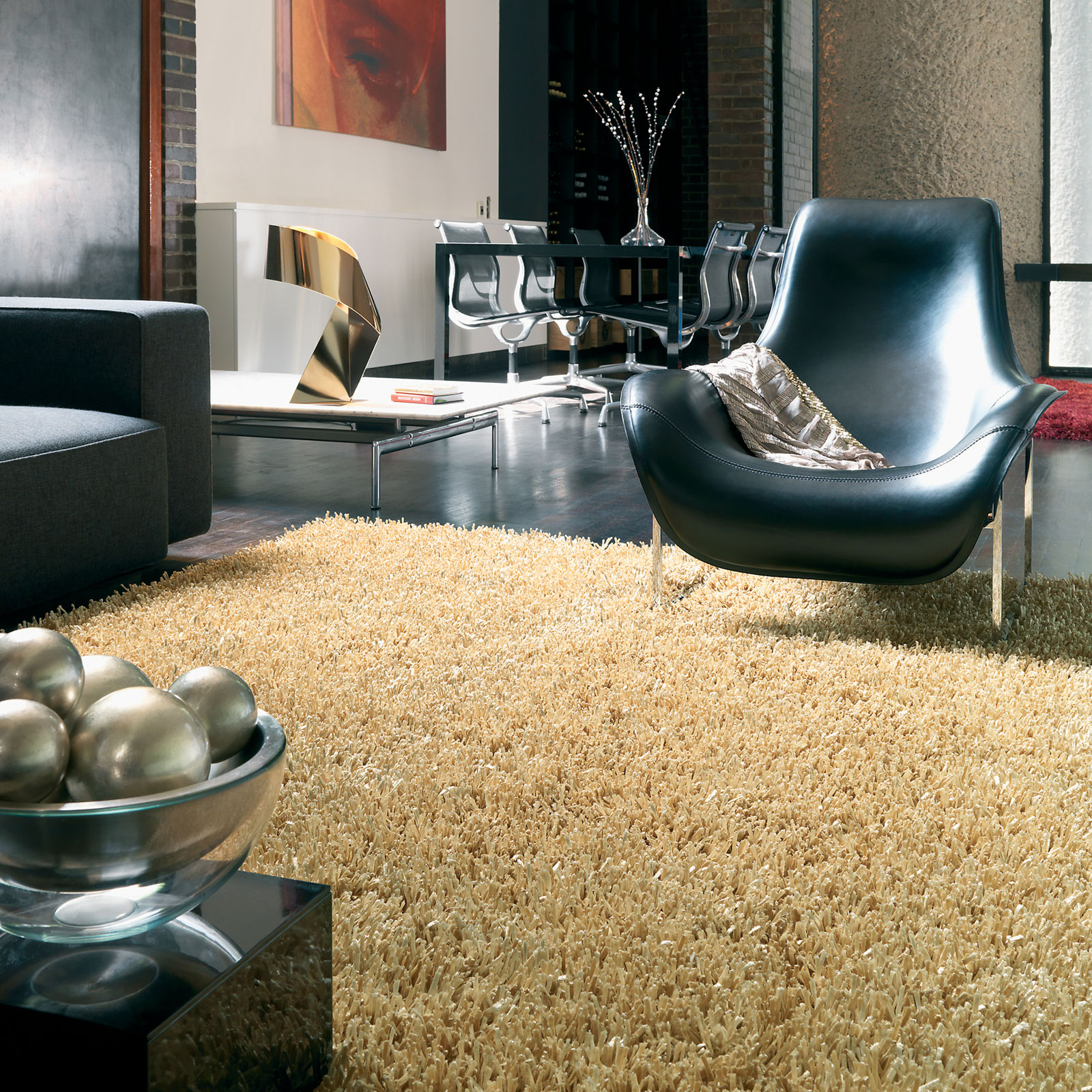metallica gold shaggy rug in a winter home