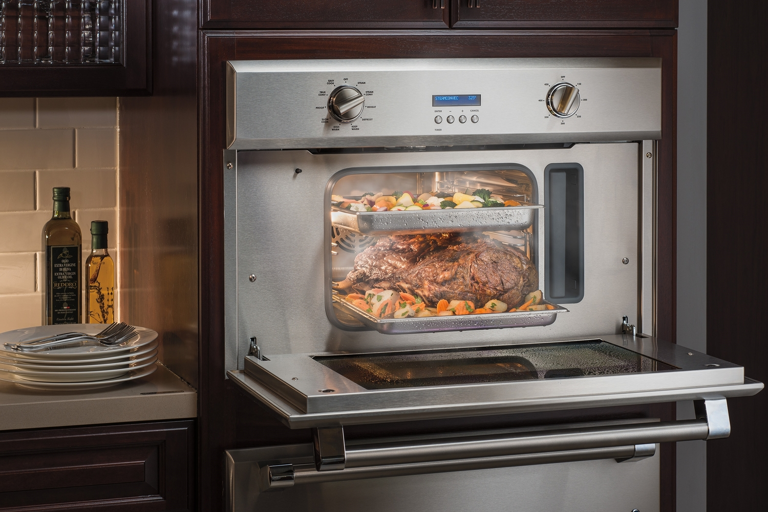 warm open oven in home