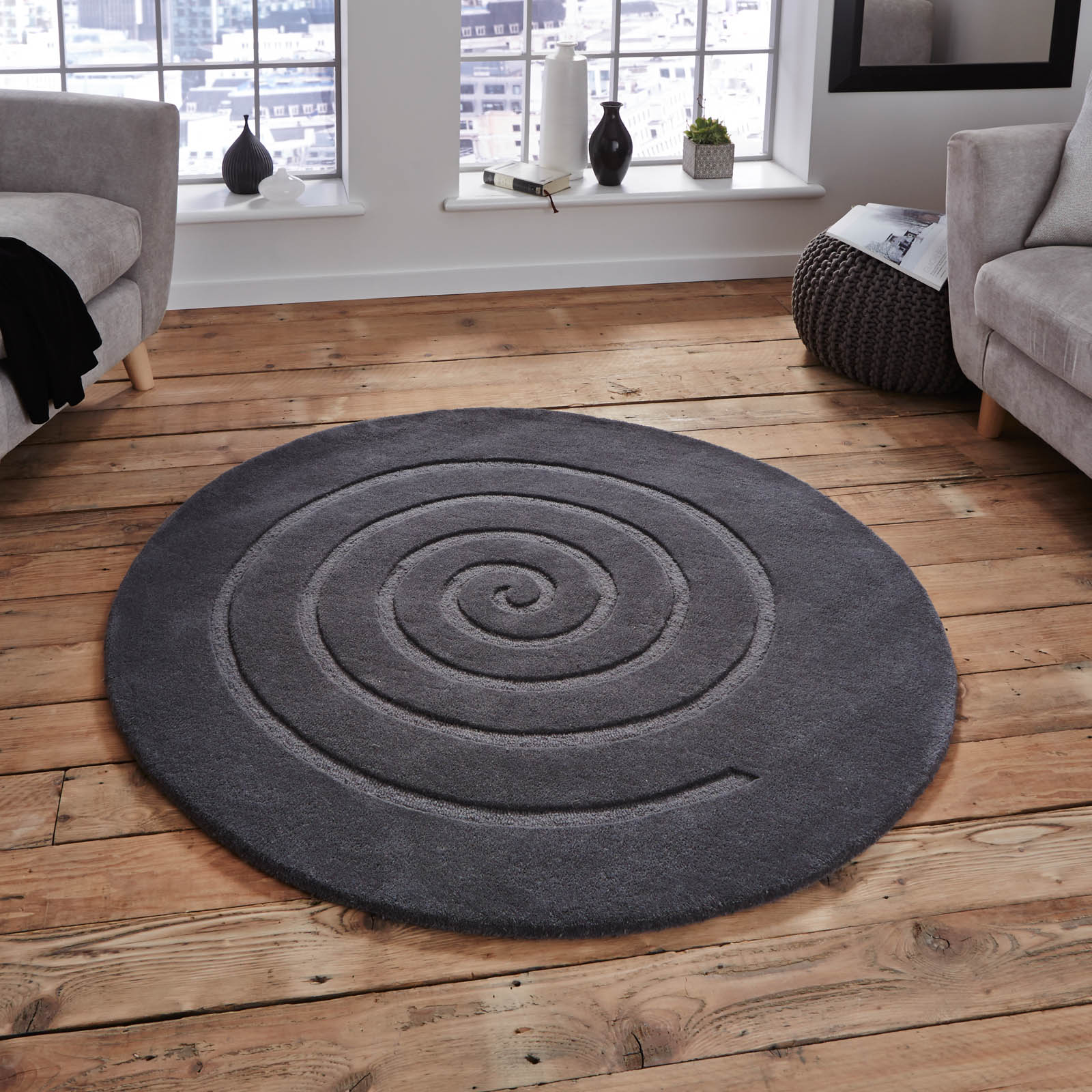 Spiral Circular Rug for student bedroom rugs