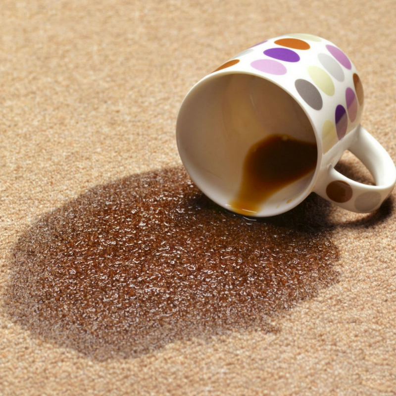 coffee spillages on a shaggy rug