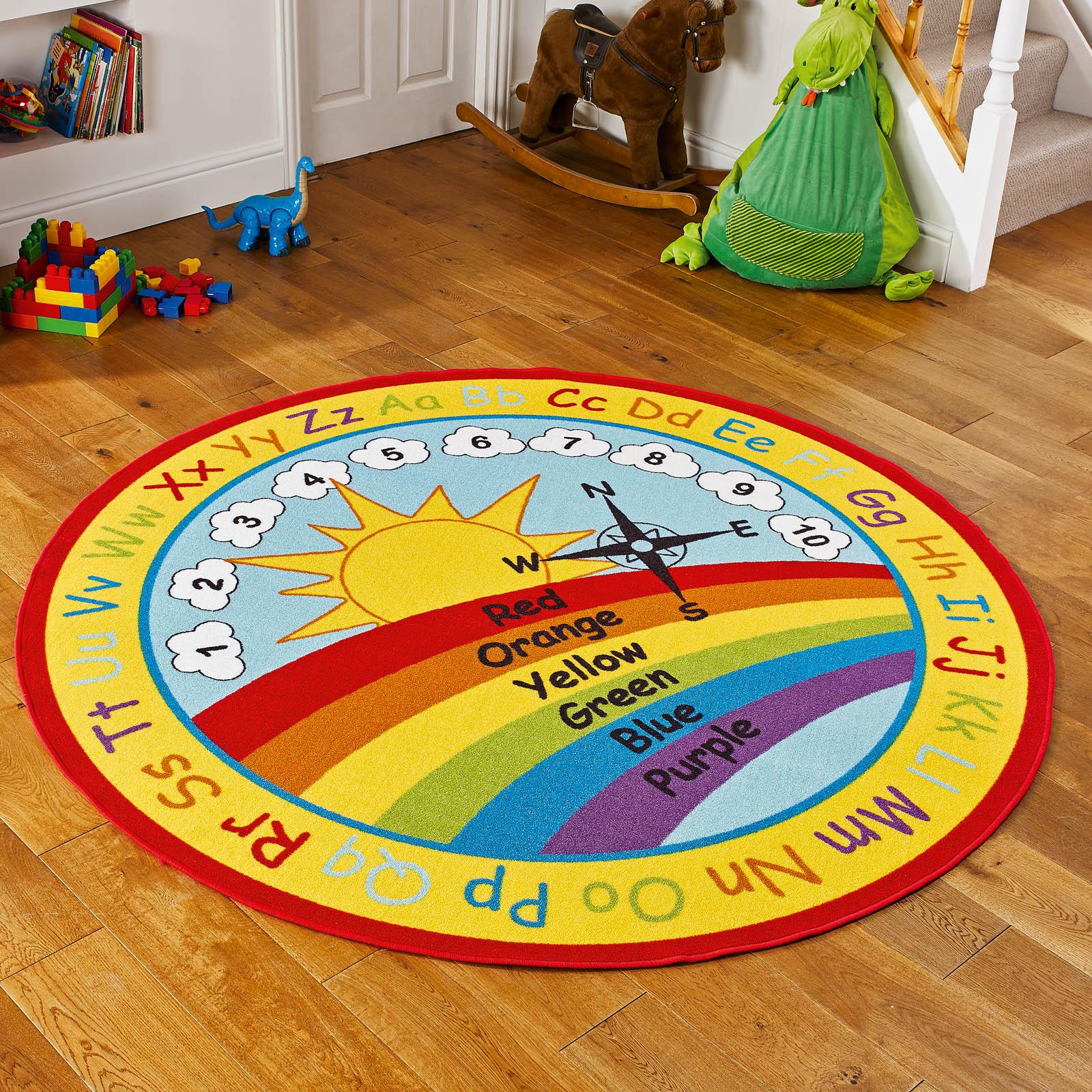 Rainbow Wheel Educational Kids Rug