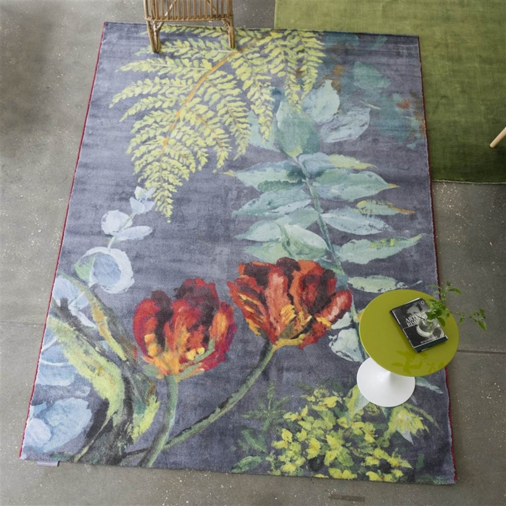 Tulipani Graphite Rug by Designers Guild fern rug for the RHS Chelsea flower show Designers Guild Rug