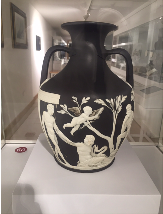 Josiah wedgwood black and white portland vase in a glass case