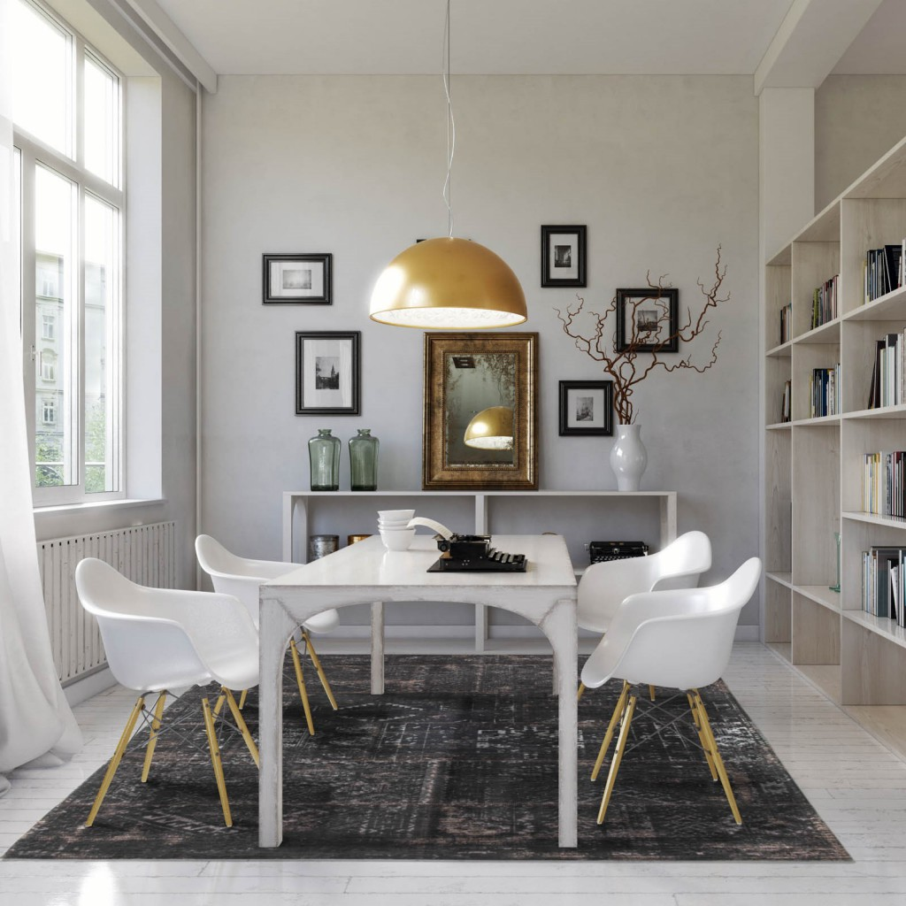 A living room filled with classic and contemporary decoration, a black rug sits underneath white dining table and chairs