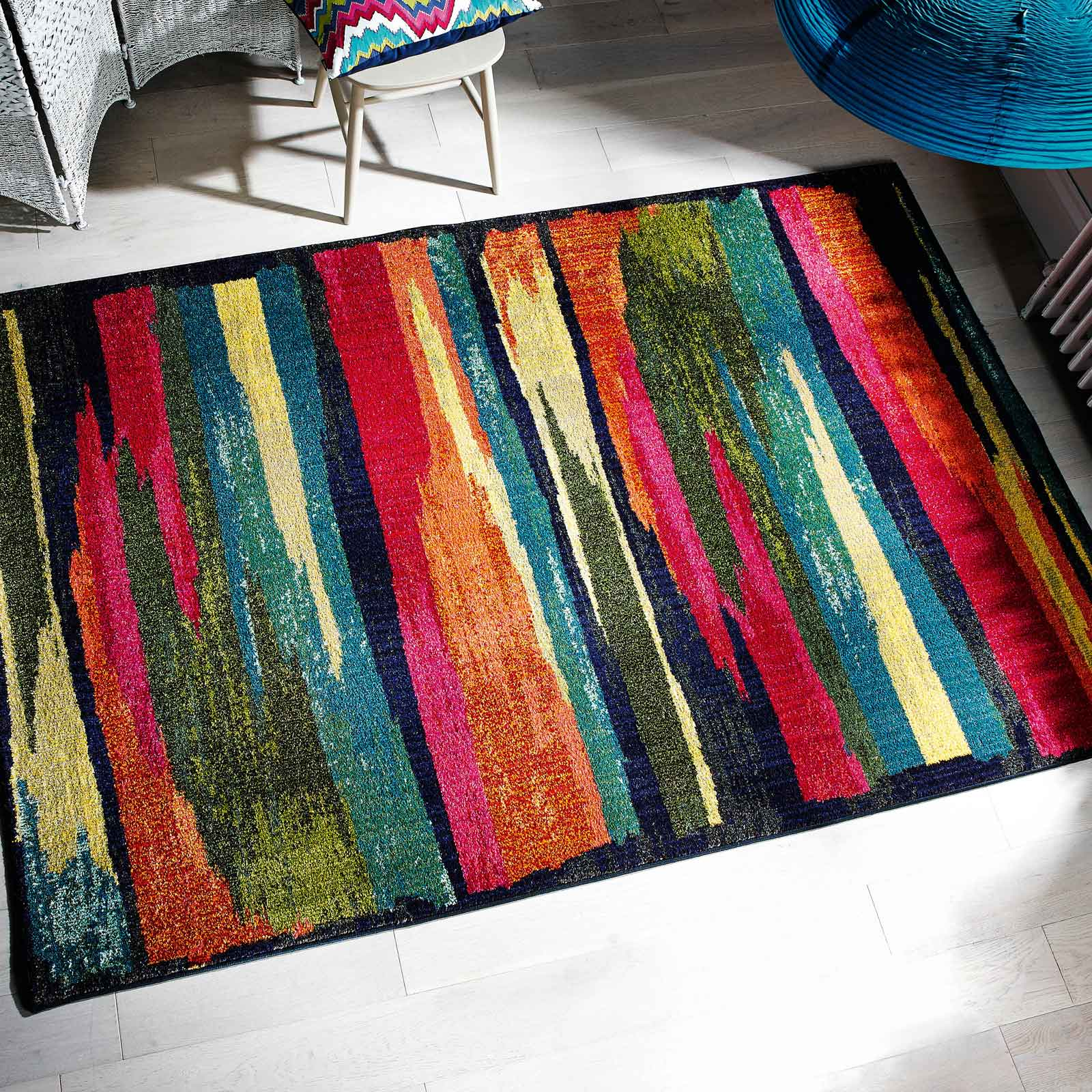 multi-coloured kaleidoscope rug to win in a pinterest competition