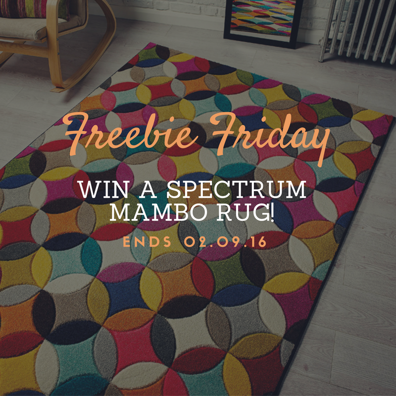A multicoloured circular design floor covering for freebie friday on light grey flooring