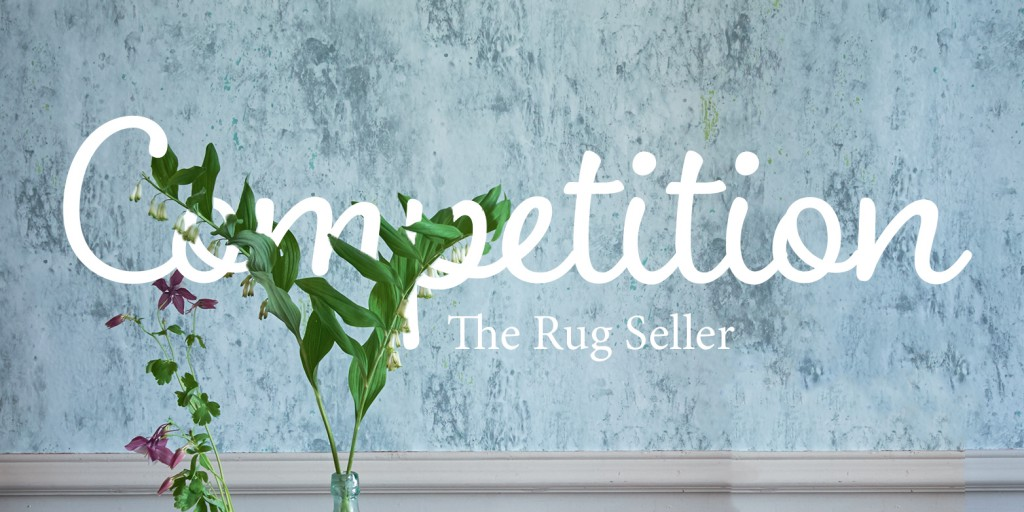 rug competition banner containing a blue wall with text overlapping a plant and the rug seller in text