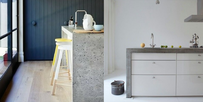 concrete furniture two concrete kitchen counters with kitchen appliances on top of them