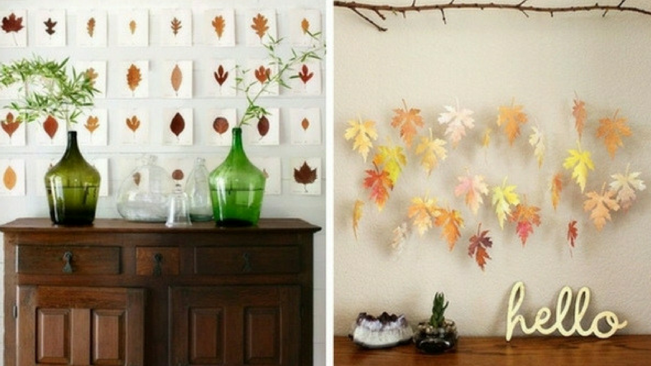 autumn decorations collage of leaves hanging from a branch and leaves painted on postcards