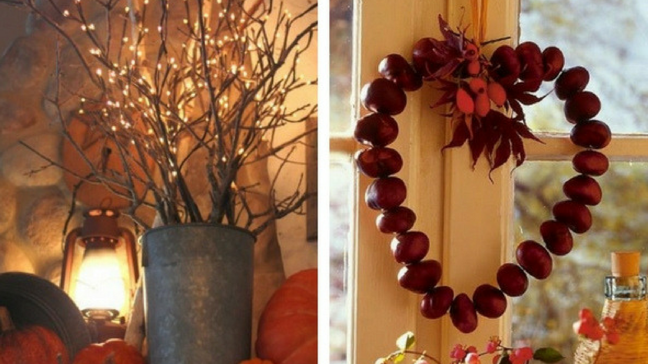 autumn decorations collage of conkers in a heart shape tied to a window and a vase surrounded in pumpkins with twigs with fairylights in