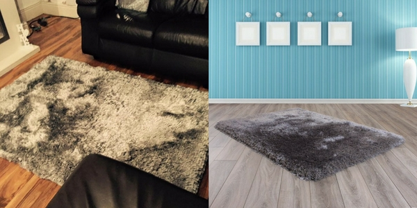 latest october releases of a collage of a grey shiny shaggy rug in a wooden floored living room and a showroom