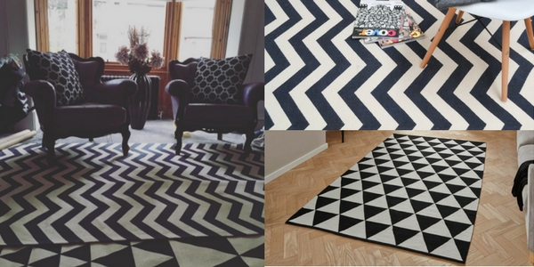 monochrome latest October releases collage of rugs in a showroom and in a living room