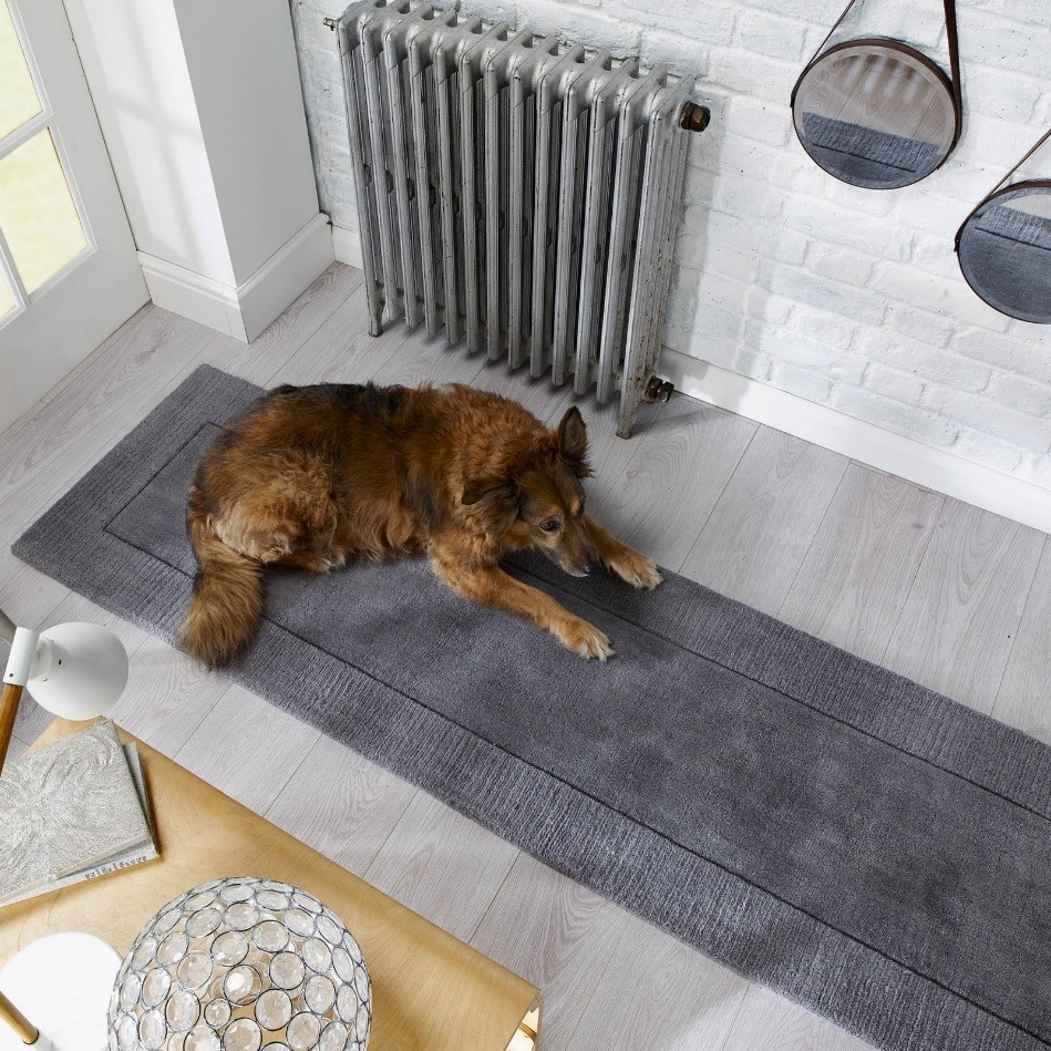 Tuscany Siena Hallway runner in Light Grey with a stylish textured border