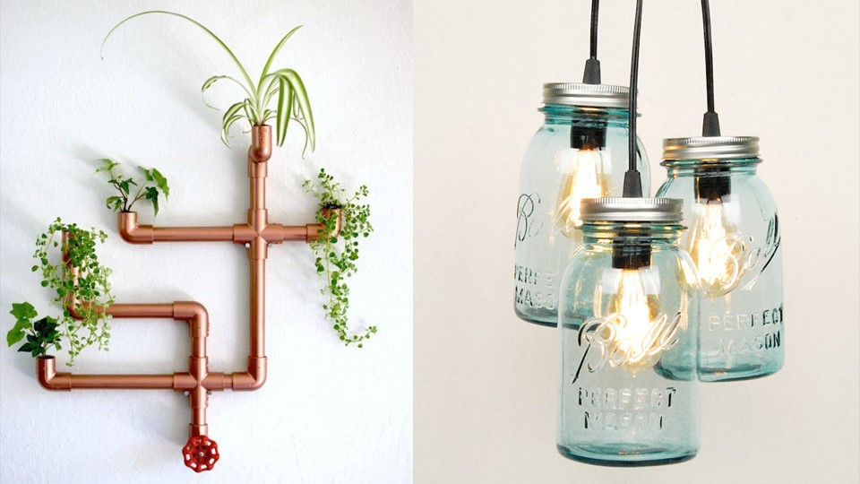 Upcycle copper pipes and glass lamp shades