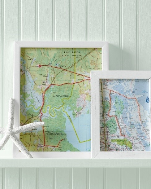 Upcycle framed road maps