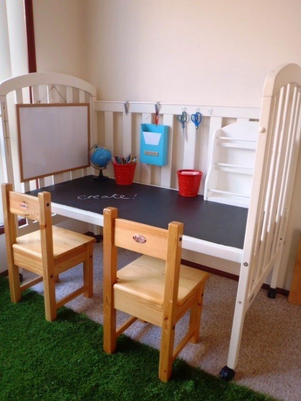Upycyle repurposed baby cot transformed into a play desk