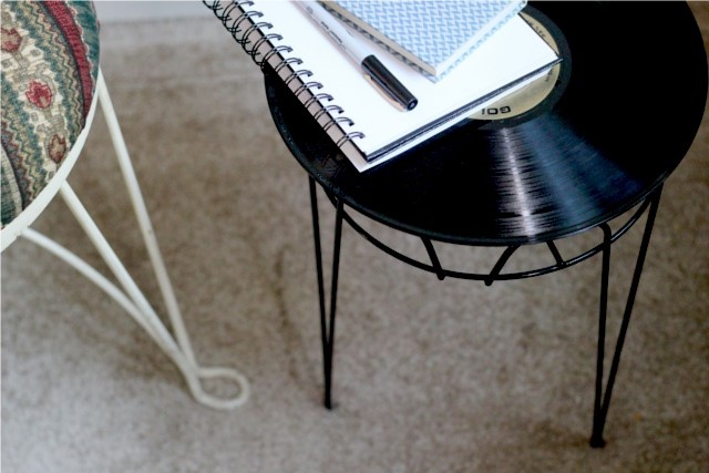 Upcycle record side table