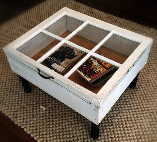 Upcycle window pane coffee table