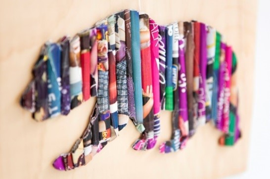 Upcycle old magazines to wall art