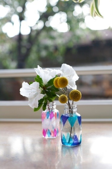 Upcycle faux stain glass jars with flowers inside