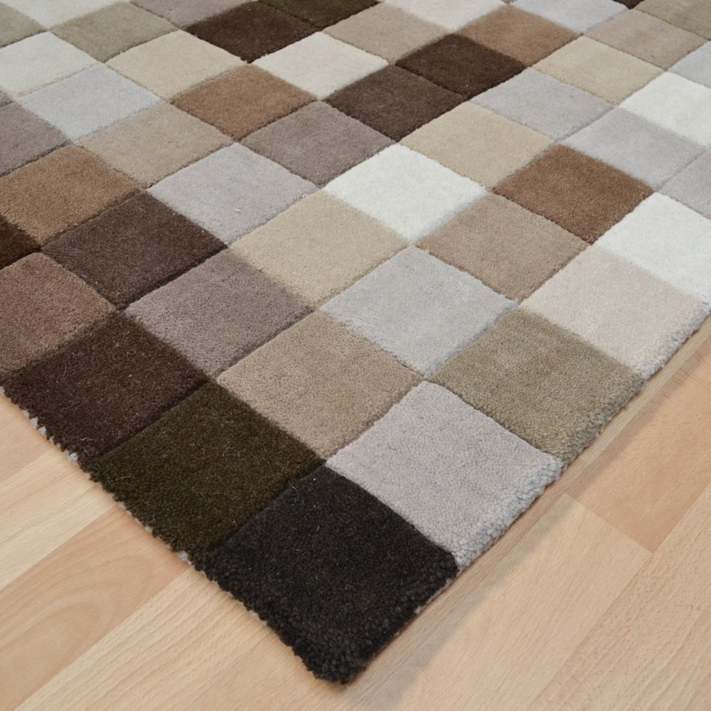 Funk Rugs in Brown squares with pixel designs for a Minecraft themed kids room