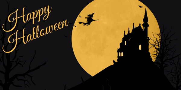 diy halloween decorations image of a witch flying across a moon over a castle on a hill and the words happy halloween
