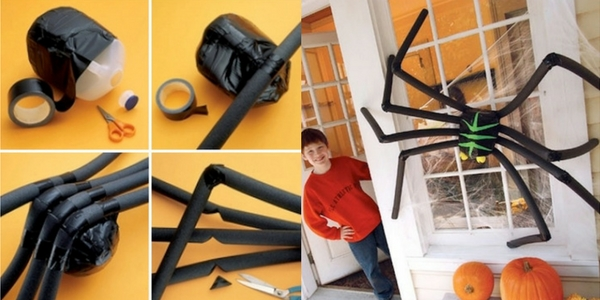 diy halloween decorations spider on a front door and images instructing how to make alongside