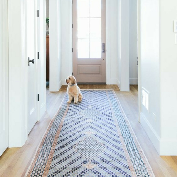 best hallway runner blue mosaic pattern rug in a white hallway with a dog sitting on the end
