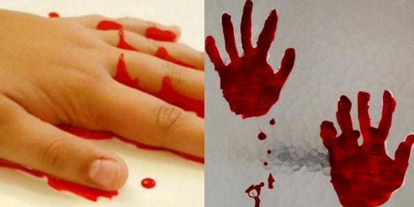 diy halloween decorations of a DIY bloody hand print of the process of making and the result