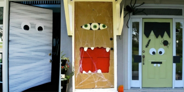 diy halloween decorations of monster doors of a mummy, Frankenstein and ghoul