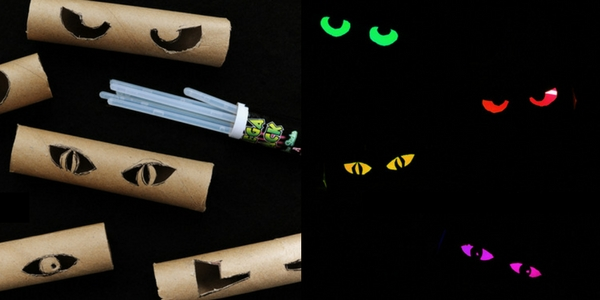 diy halloween decorations of toilet rolls with eyes cut into them with glow sticks placed inside