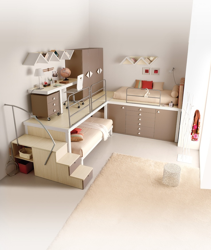 Creative Kids Bedroom Organised Brown Small Kids Bedroom