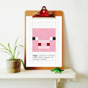 minecraft kids room pixelated pig clipboard