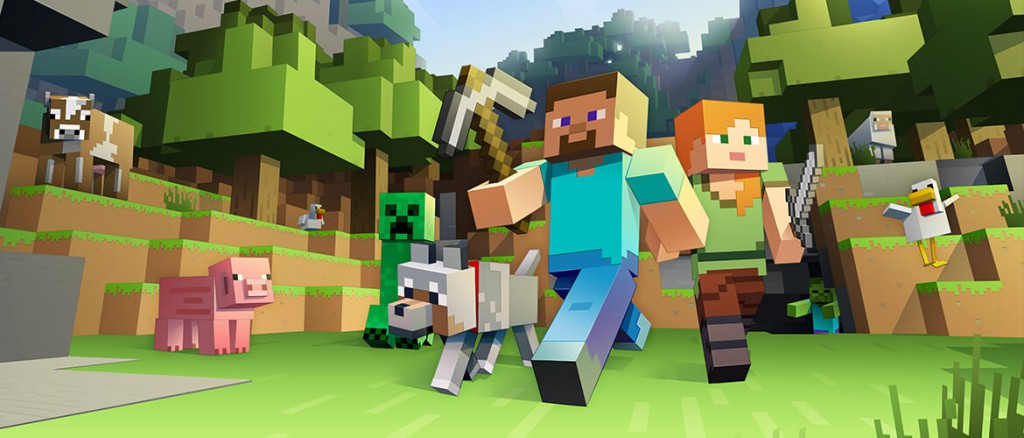 minecraft themed kids hero in video game