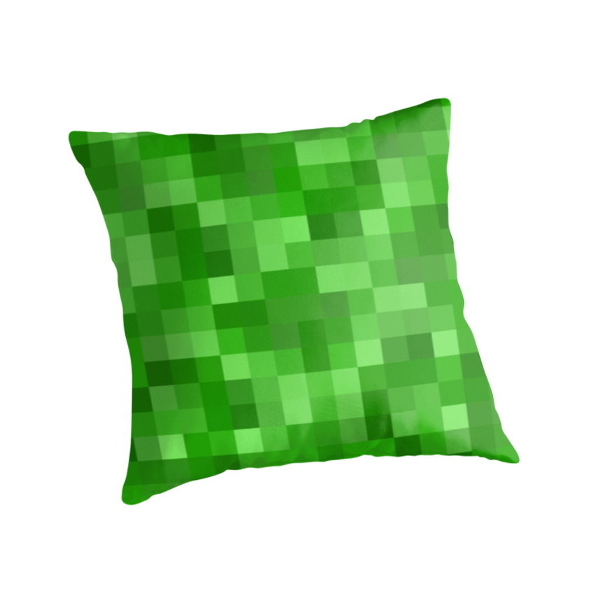 minecraft themed kids room green pixel pillow