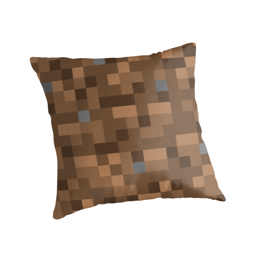 minecraft themed kids room brown pixel pillow