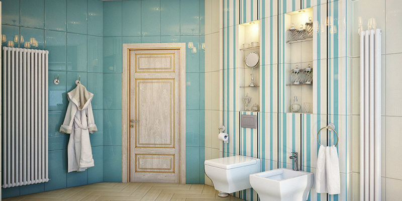 stripes trend a blue coloured striped bathroom