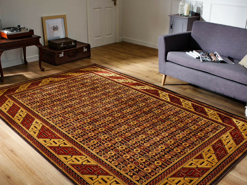 sultan traditional rug releases with brown and yellow colour tones