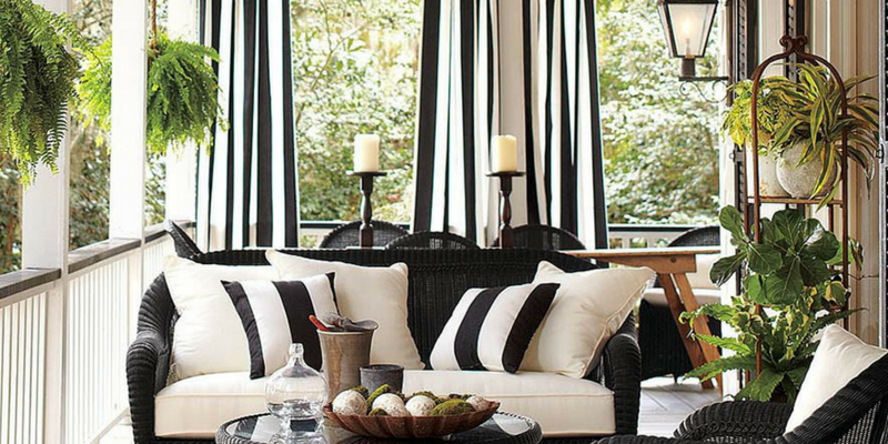 stripes trend black and white curtains and cushions in a living room