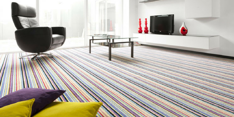 stripes trend multicoloured carpet in a large spacious room