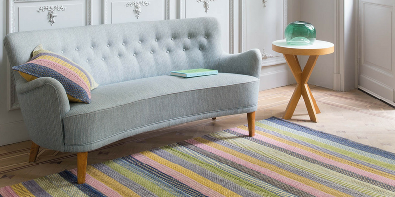stripes trend multicoloured rug in a large spacious room