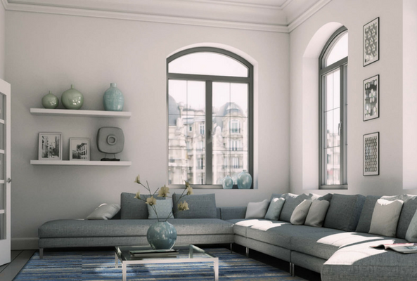 small space with a large window and long style sofa