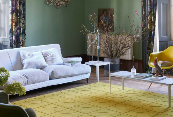 a small space that is separated by rugs
