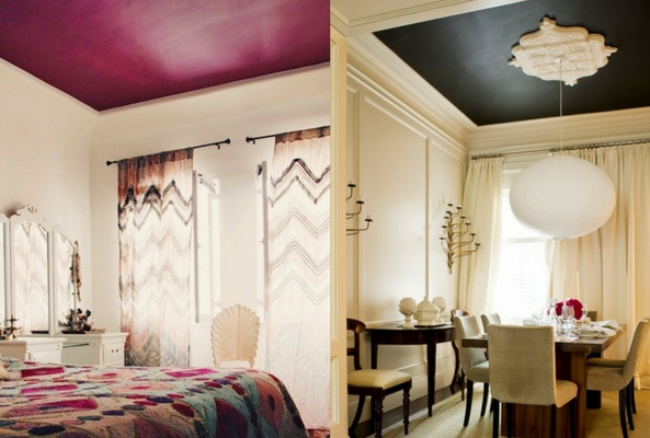 collage of small space bedrooms and dining rooms with a painted pink and black ceiling to make it look larger
