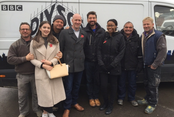 DIY SOS reveal day with the team and the rug seller team