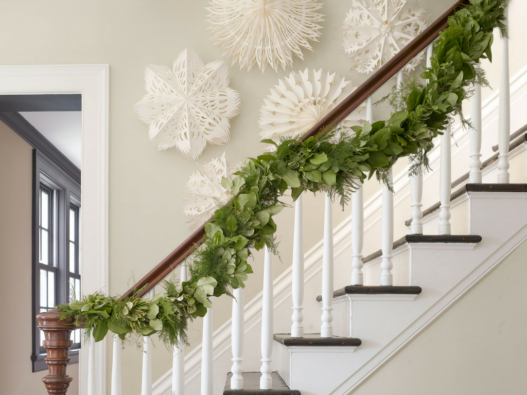 Christmas garland stairs banister ornaments