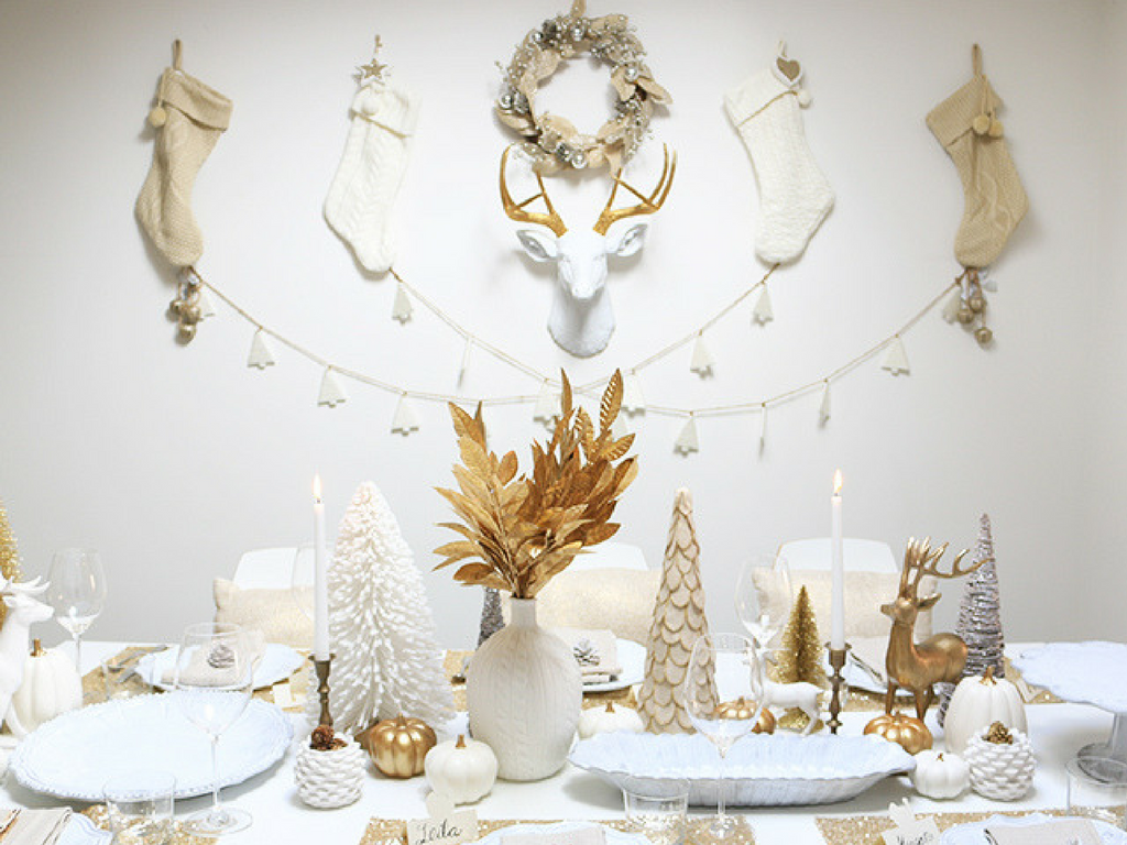 Christmas themed white and gold dining room