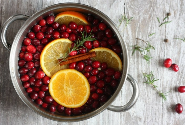 stovepot potpourri with cranberries and orange in a pot to make a room smell like christmas